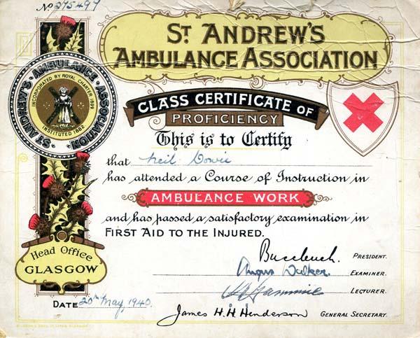 St Andrew's Ambulance Association Proficiency Certificate 1940