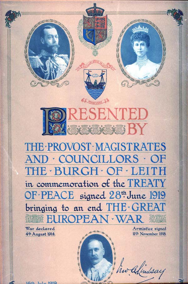Certificate In Commemoration of the Treaty of Peace 1919