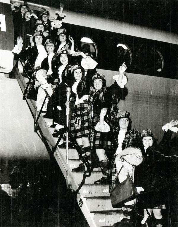 Members Of Jean Carnie's School Of Dance Boarding Aeroplane 1960s
