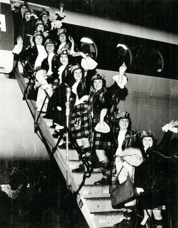 Members Of Jean Carnie's School Of Dance Boarding Aeroplane 1960s