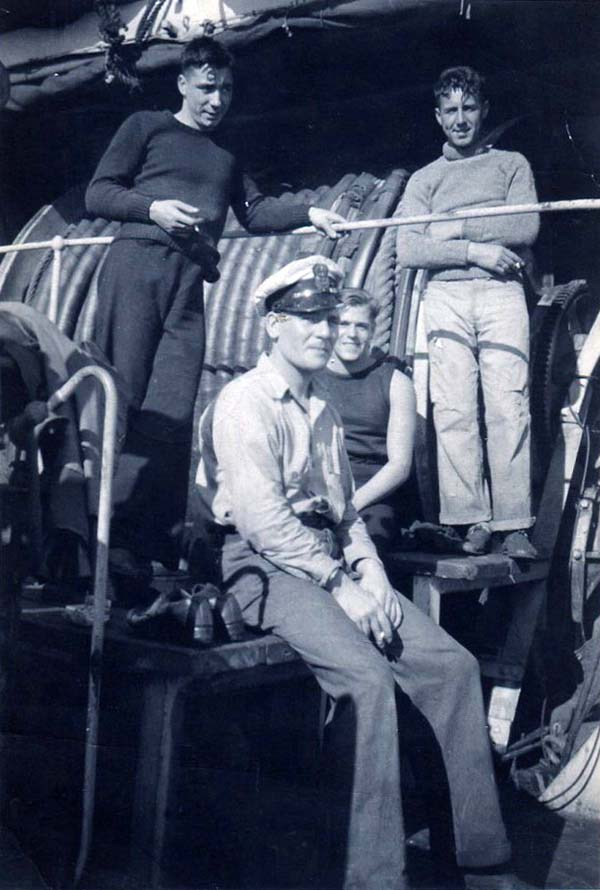 Group Of Men Taking A Break On Board Ship 1940s