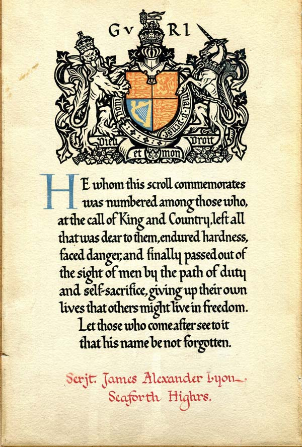First World War Commemorative Scroll For Serjeant In The Seaforth Highlanders 1914-1918