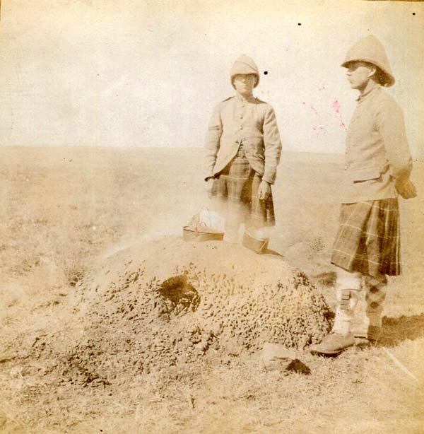 Two Soldiers Standing Round Camp Field Oven, Boer War 1899-1902