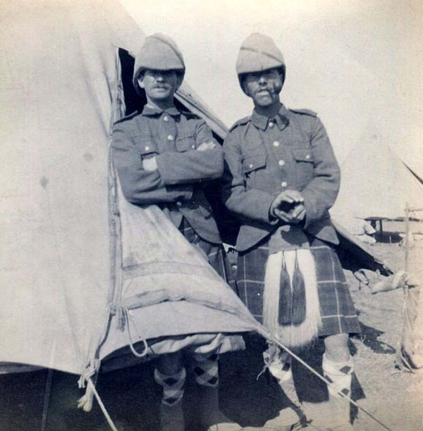 Two Soldiers Standing Outside Field Tent, Boer War 1899-1902