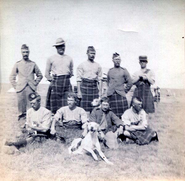 Group Of Soldiers At Leisure With Pet Mascots, Boer War 1899-1902