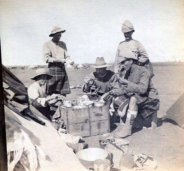 Soldiers Having A Meal At Field Camp, Boer War 1899-1902