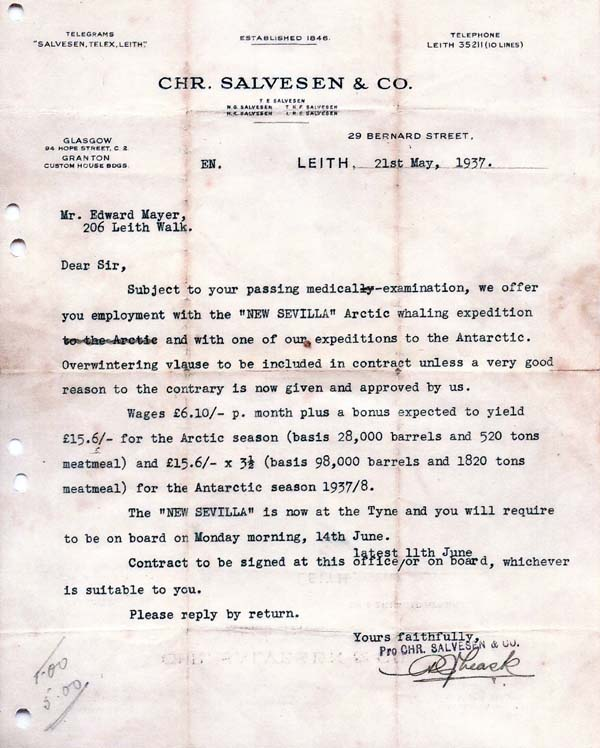Salvesen & Co Offer Of Employment Letter For Whaling Expedition To The Arctic And Antarctic 1937