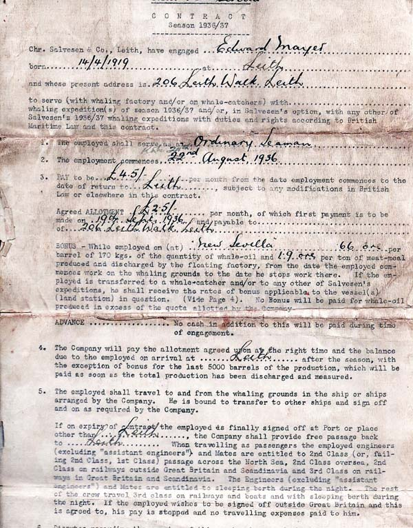 Seaman's Contract Of Employment For Whaling Expedition To The Arctic And Antarctic (page 1) 1937