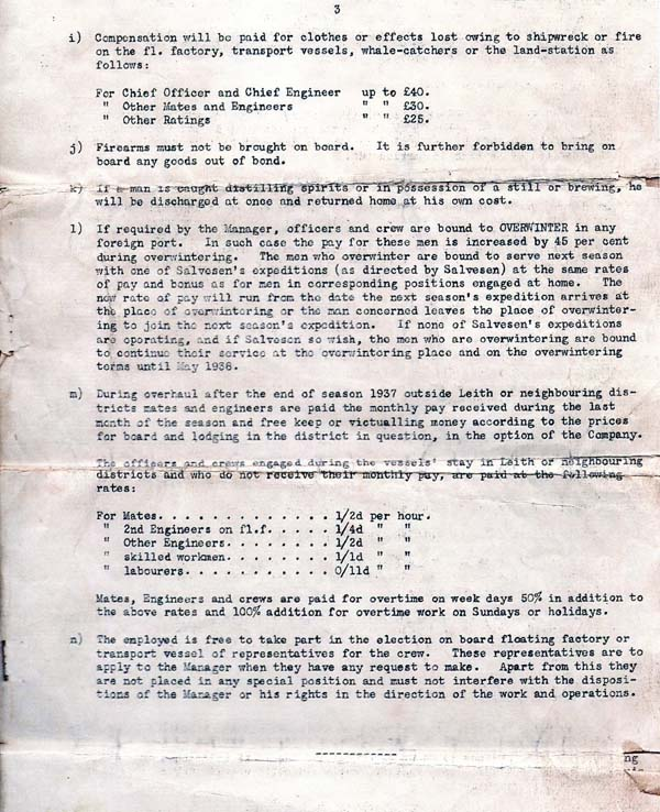 Seaman's Contract Of Employment For Whaling Expedition To The Arctic And Antarctic (page 3) 1937