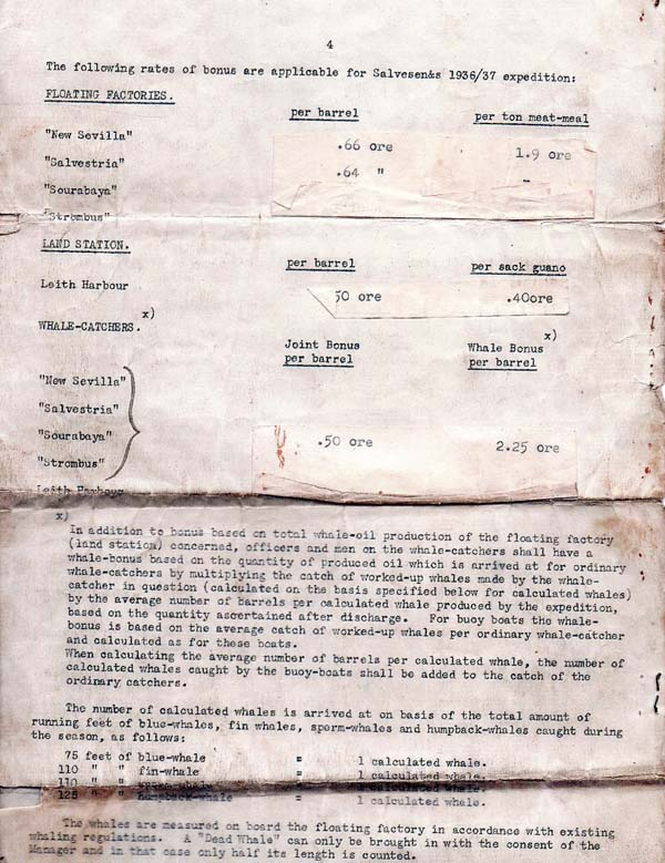 Seaman's Contract Of Employment For Whaling Expedition To The Arctic And Antarctic (page 4) 1937