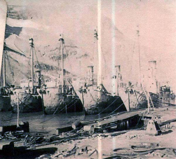 Whaling Ships Lined Up In Leith Harbour, South Georgia c.1937