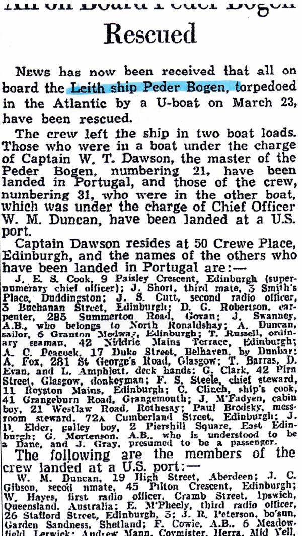 Sinking of the Peder Bogen (1) 23 March 1942