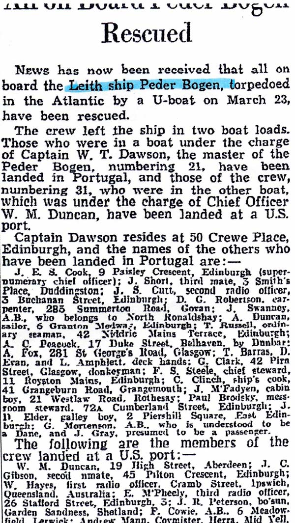Newspaper Cutting Of The Sinking Of The Peder Bogen Listing Names Of Crew Rescued (1) 23 March 1942