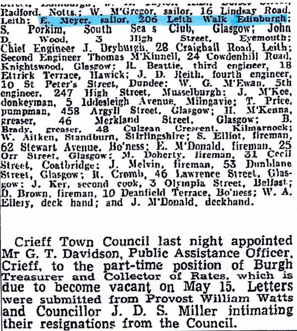 Newspaper Cutting Of The Sinking Of The Peder Bogen Listing Names Of Crew Rescued (2) 23 March 1942