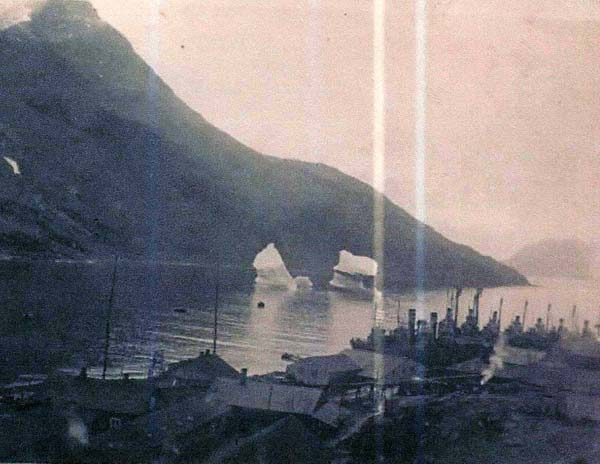 Icebergs at Leith Harbour Whaling Station c.1937