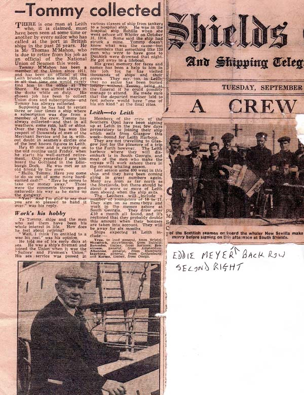 Newspaper Cutting With Picture Of Crew Of The Whaling Ship The 'New Sevilla' c.1937