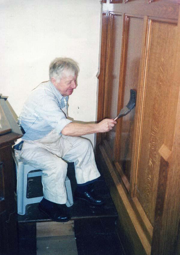 Man 'Wood Graining' Interior Of Church c.1989