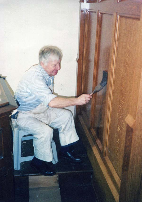 Man 'Wood Graining' Interior Of Church c.1989