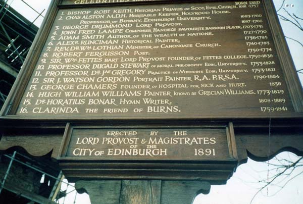 List Of Most Notable Edinburgh Citizens Interred At Canongate Kirk Cemetery 1999