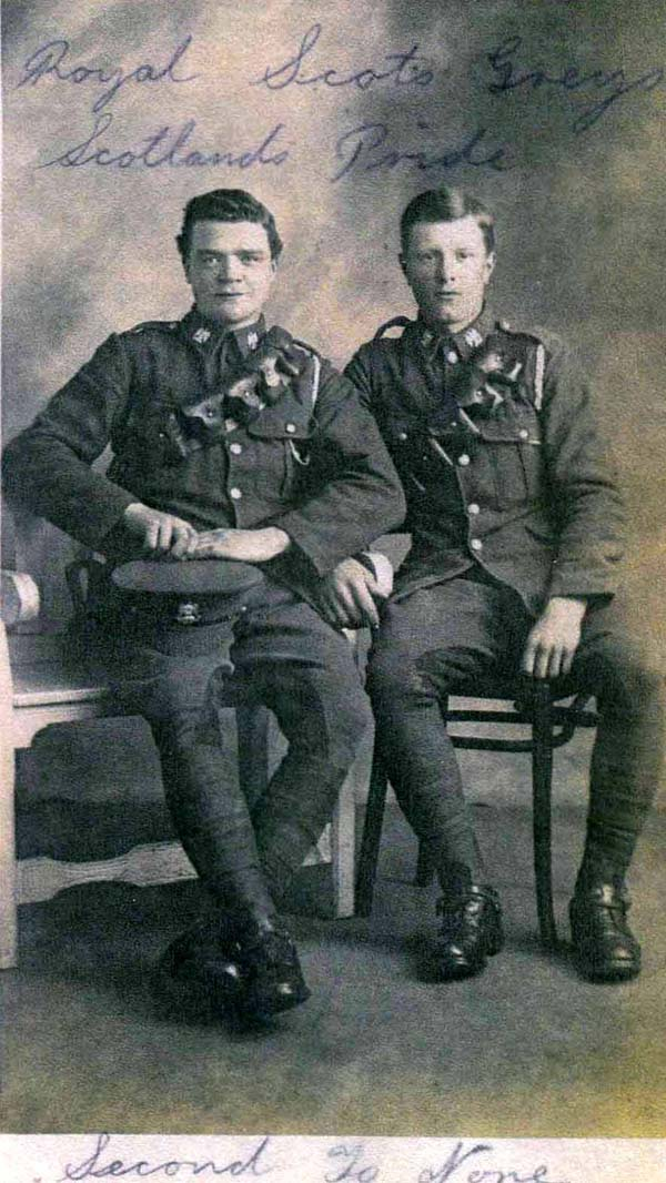 Studio Portrait Two Soldiers Of The Royal Scots Greys 1914-18