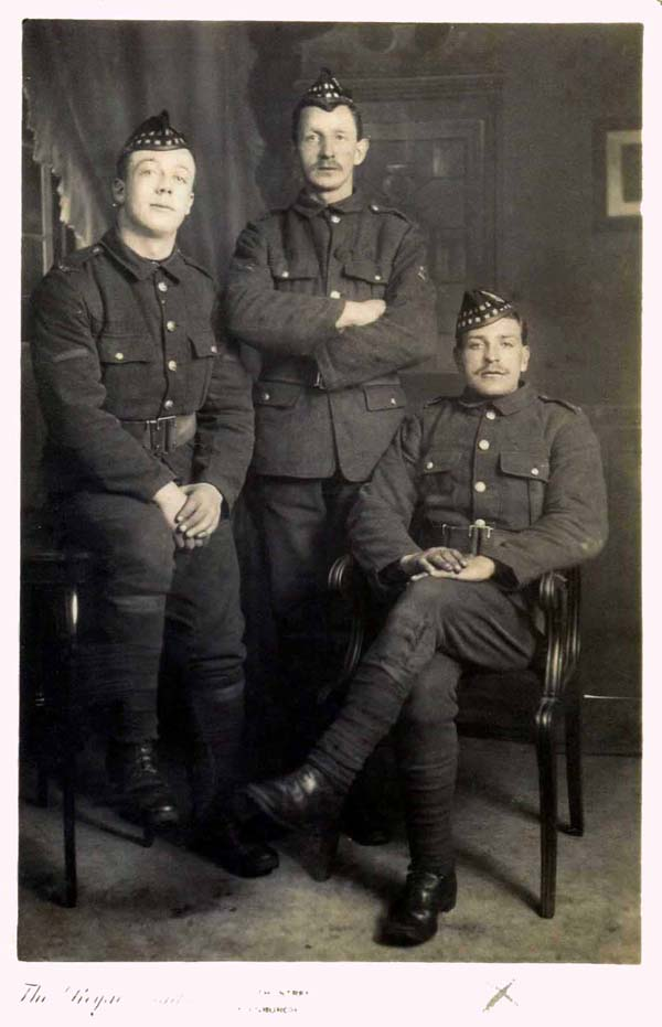 Studio Portrait Three Soldiers Of The Royal Scots c.1914