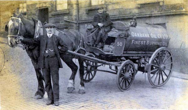 Man And Driver With Horse Drawn Oil Cart 1920s