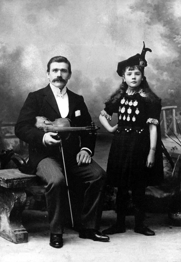 Studio Portrait Fiddler And Dancer c.1900