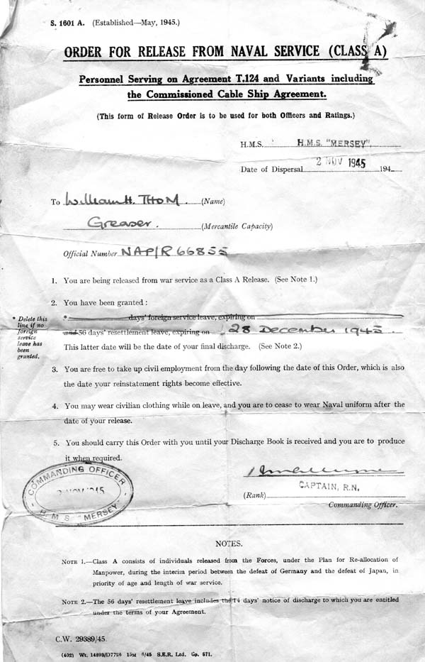 Order Of Release From Naval Service 2 Nov 1945
