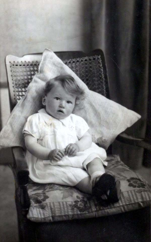 Studio Portrait Young Girl Sitting On Armchair 1941
