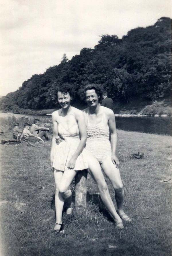 Two Women In Swimsuits By River c.1942