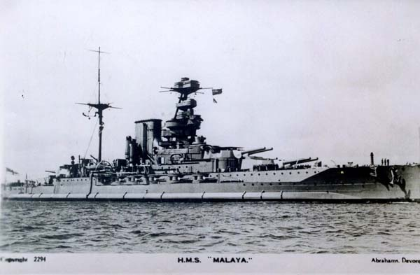 Postcard Of The Battleship HMS Malaya 1940s