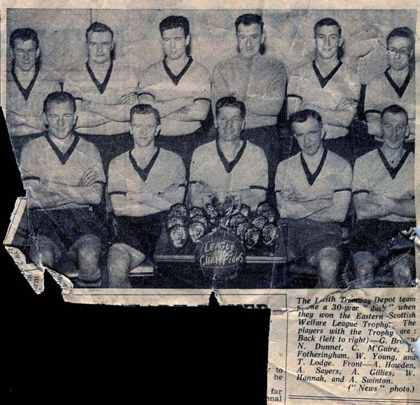 Newspaper Cutting Leith Tramway Depot Football Club Team 1957