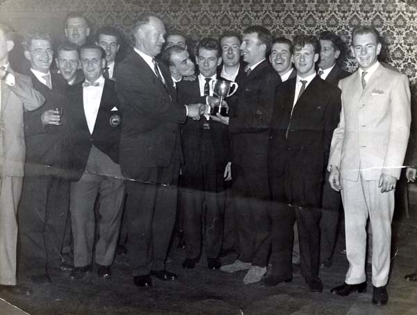 Leith Tramway Depot Football Club Being Presented With The Welfare League Trophy 1958