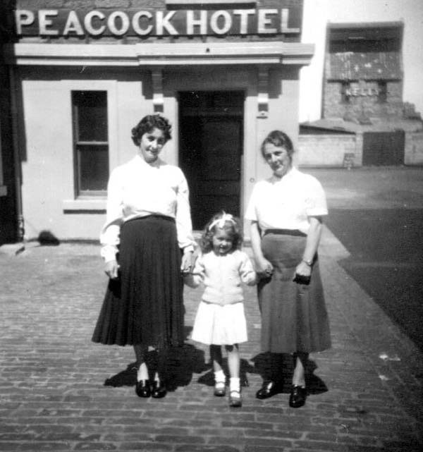 Two Women And Girl Standing Outside The Peacock Hotel c.1960