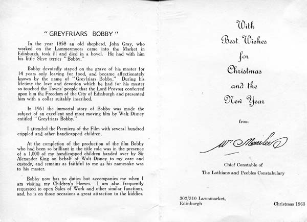 William Merrilees Christmas Card Message 1963