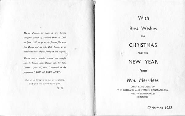 William Merrilees Christmas Card Message 1962