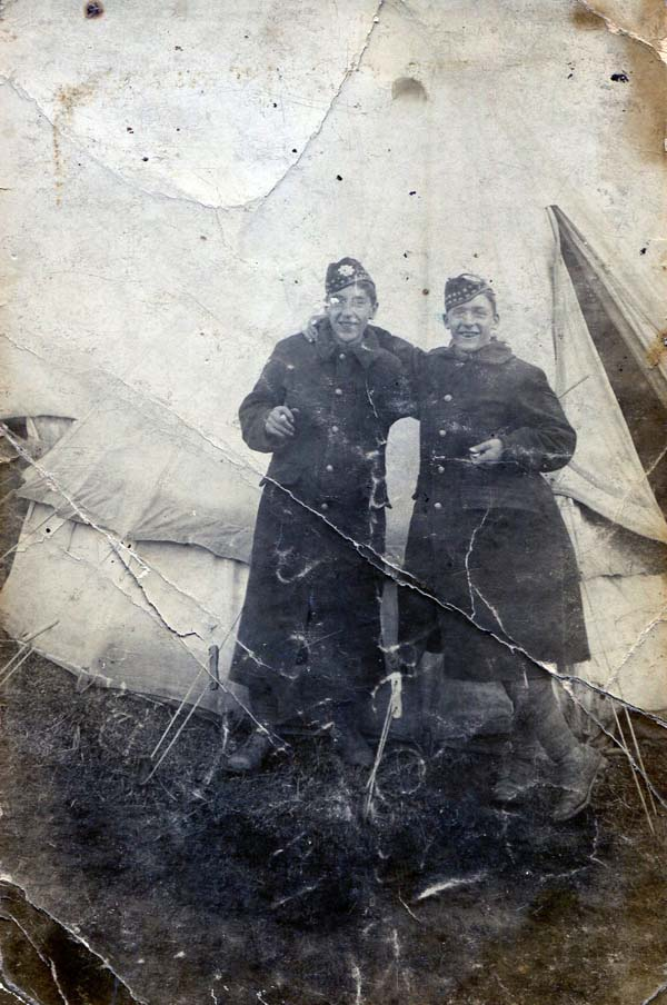 Two Young Soldiers At Camp 1920s