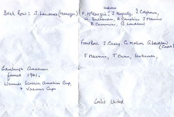 Links United Football Club Team List Of Names, early 1960s