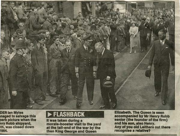 Newspaper Cutting Royal Visit To Henry Robb's Shipyard c.1945