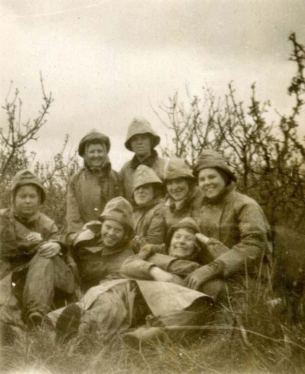 Women's Land Army Girls Taking A Pause From Work In Apple Orchard 1947