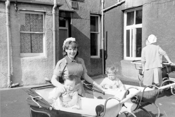 Nursery Nurse With Two Children In Prams 1960s