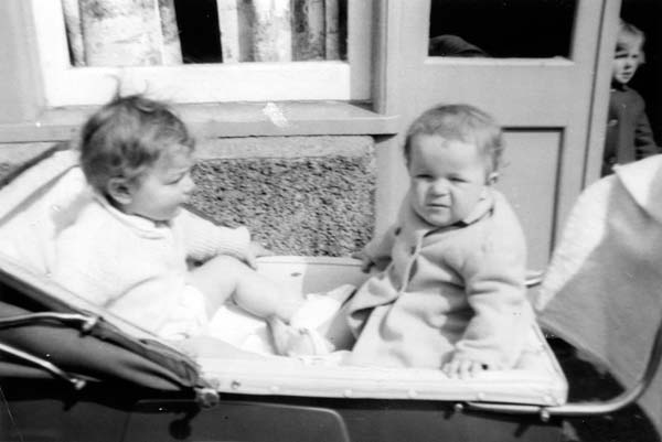 Two Children At Nursery In Pram 1960s