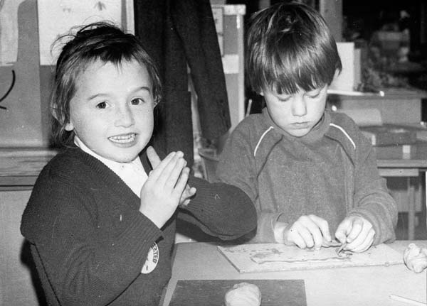 Two Children Playing With Plasticine At Greendykes School 1980s