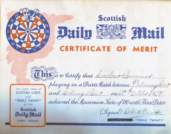 Darts Competition Certificate of Merit 1950