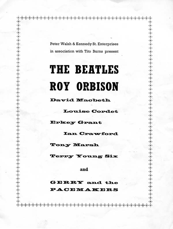 Beatles Programme With Line-Up 1963
