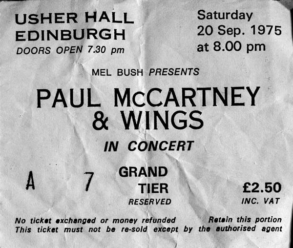 Concert Ticket For Paul McCartney & Wings 1975