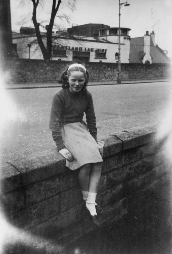 Girl Sitting On Garden Wall c.1960