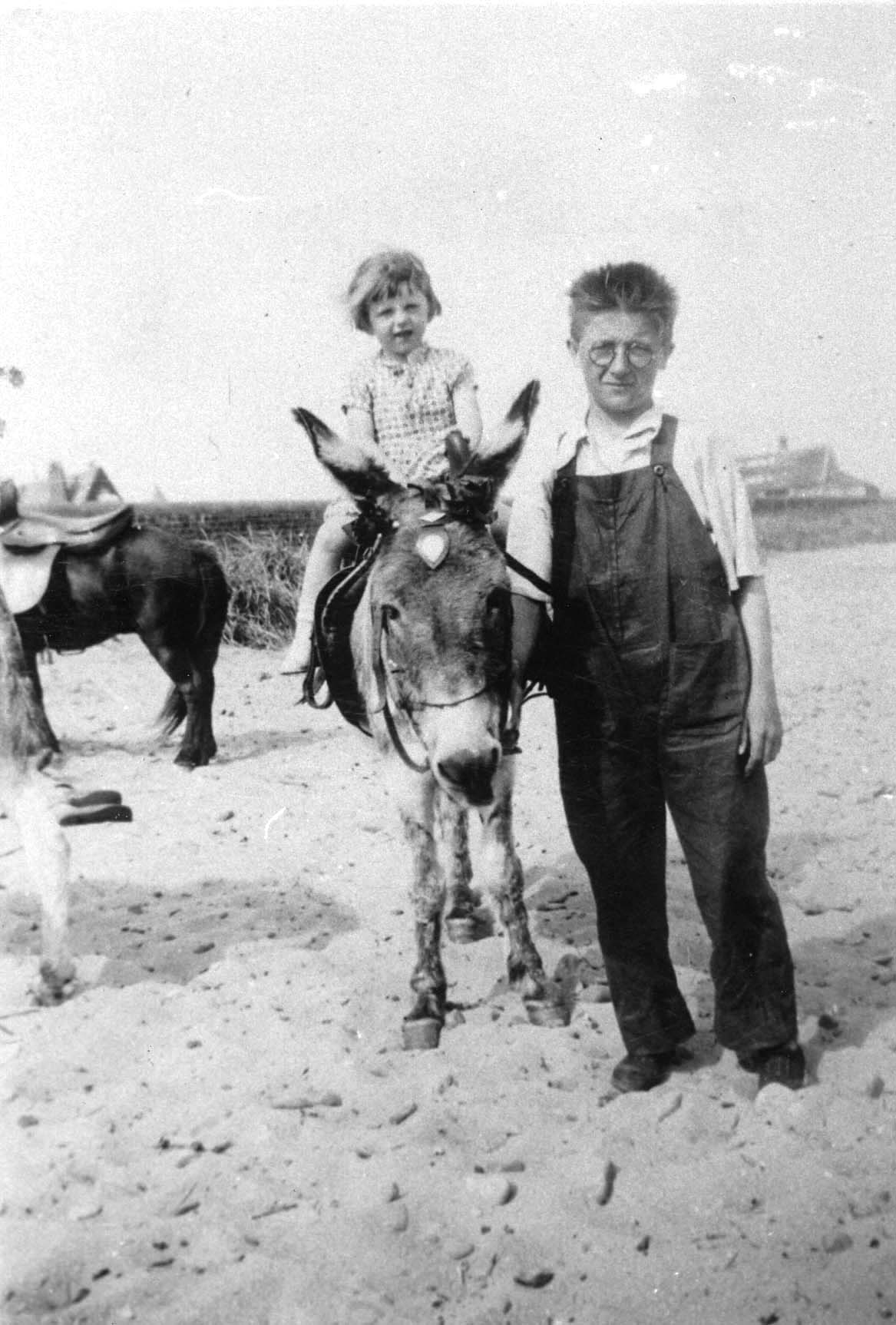 Young Girl Getting Donkey Ride On the Beach 1935
