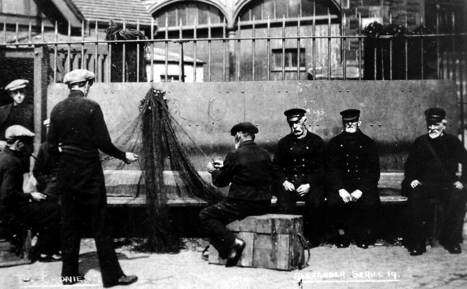 Retired Fishermen Repairing Nets 1930