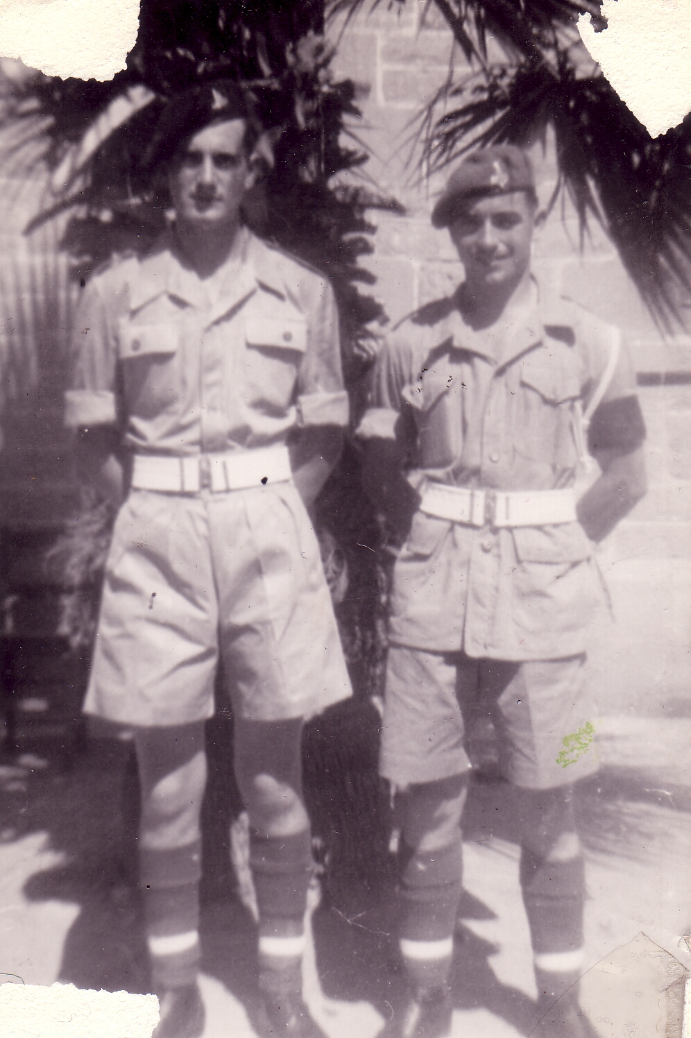 Two Soldiers Standing At Ease During National Service In Egypt 1950